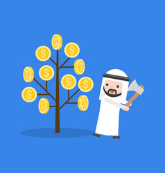 Arab businessman prepares to cut a money tree vector