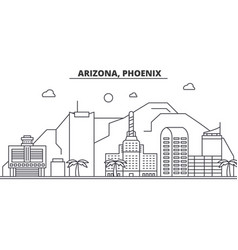 Arizona phoenix architecture line skyline vector