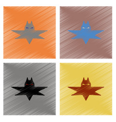 Assembly flat shading style icons halloween bat vector