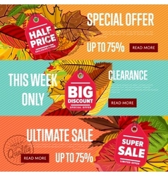 Autumn seasonal sale website templates vector