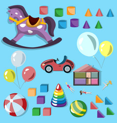baby different toys icon set vector image