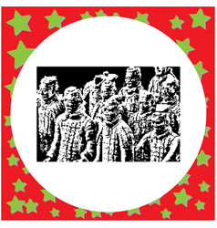 black 8-bit terracotta warriors vector image