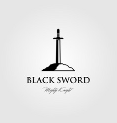 black sword logo stuck in stone design vector image