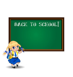 blonde school girl near blackboard with chalk vector image