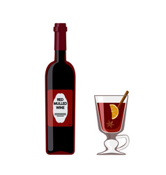 bottle mulled wine with glass isolated on white vector image