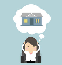businesswoman is thinking about house vector image