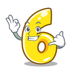 call me number six isolated on the mascot vector image