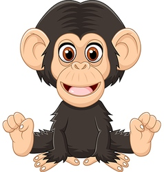 Cartoon funny baby chimpanzee sitting isolated vector image