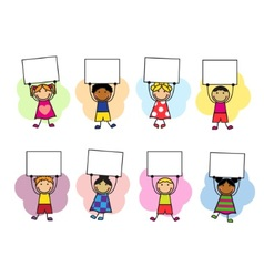 Cartoon kids with placards in their hands vector image