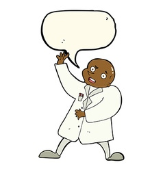cartoon mad scientist with speech bubble vector image