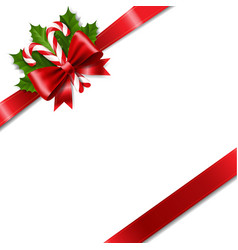 Christmas ribbon bow with holly berry red vector