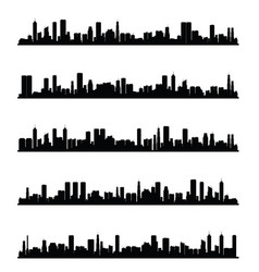 Citys silhouette panorama in black color vector