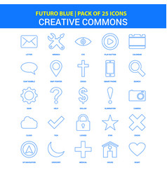 Creative commons icons - futuro blue 25 icon pack vector