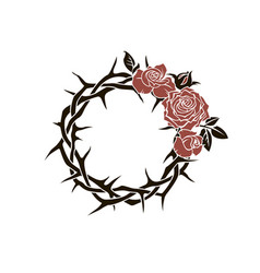 Crown thorns and roses vector