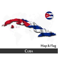 cuba map and flag waving textile design dot vector image