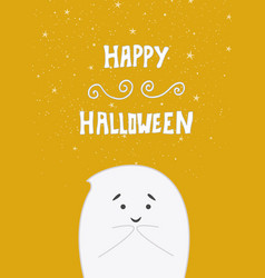 cute little ghost on orange background vector image