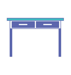 Desk table with drawers front view in blue and vector