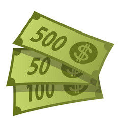 dollars green banknotes finance wealthy papers vector image