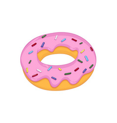 Donut with pink frosting vector