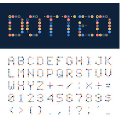 Dotted font alphabet retro or pop style vector