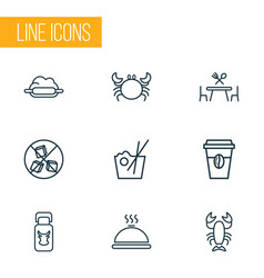 eating icons line style set with sugar free dough vector image
