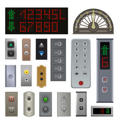 Elevator buttons lift metal push button up vector