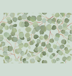 eucalyptus floral watercolor seamless pattern vector image