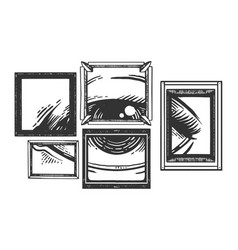 Eye in picture frame engraving vector