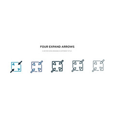 Four expand arrows icon in different style two vector