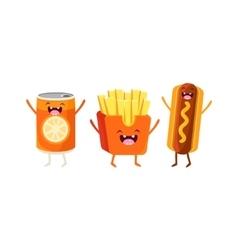 Fries Hot dog And Soda Cartoon Friends vector image