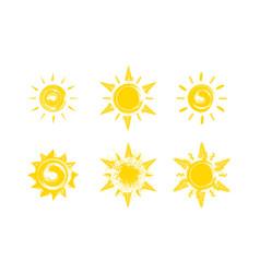 Fun sun hand-drawn set grunge sun icons vector