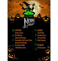 halloween menu template vector image