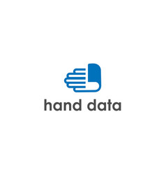 hand data logo design vector image