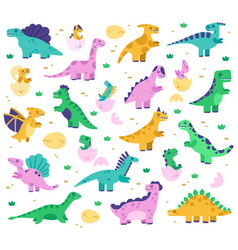 Hand drawn dinosaurs cute dino baby in eggs vector