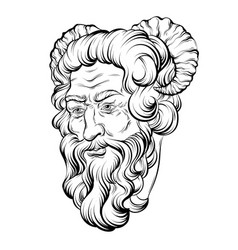 hand drawn satyr isolated vector image