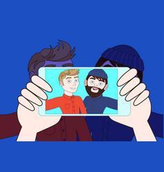hand using smart phone camera take selfie photo of vector image