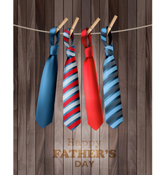 Happy fathers day background with a colorful ties vector