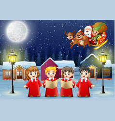 happy kids wearing red costume singing in the snow vector image