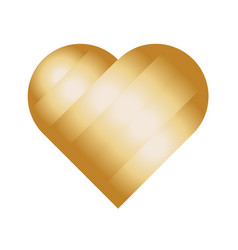 heart of golden stripes love symbol vector image