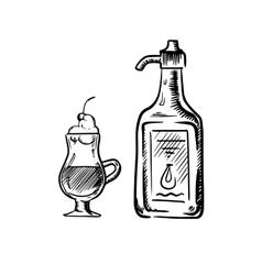 Irish coffee sketch with bottle of cream vector