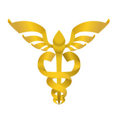 isolated golden caduceus emblem vector image