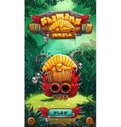 Jungle shamans mobile GUI play window vector image
