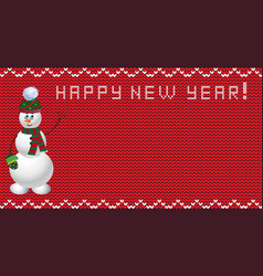 Knit new year design with snowman vector