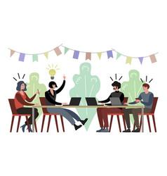 light bulb idea on company meeting vector image