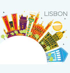 Lisbon portugal city skyline with color buildings vector