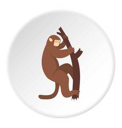 Macaque is climbing up on a tree icon circle vector