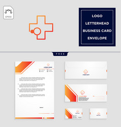 medical cross logo template and free letterhead vector image