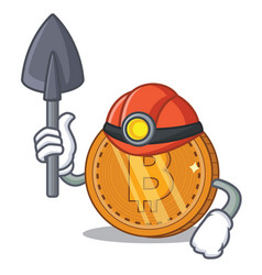 Miner bitcoin coin character cartoon vector