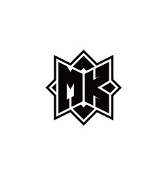 Mk monogram logo with square rotate style outline vector