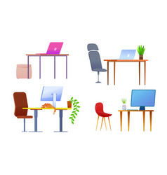 modern office workplace desk cartoon set vector image